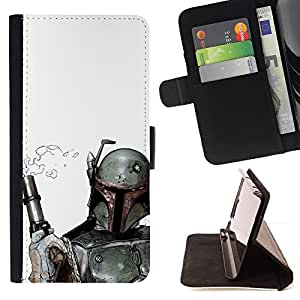 Boba Fett & Gun - Painting Art Smile Face Style Design PU Leather Flip Stand Case Cover FOR Apple Iphone 5 / 5S @ The Smurfs