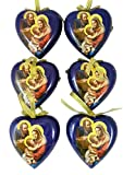 Adoring Holy Family Heart Shape Decoupage Nativity Christmas Ornament, Set of 6, 3 1/2 Inch