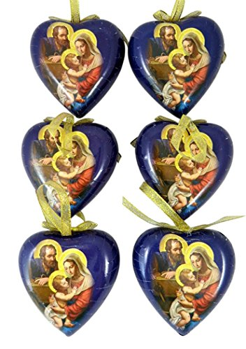 Adoring Holy Family Heart Shape Decoupage Nativity Christmas Ornament, Set of 6, 3 1/2 Inch -