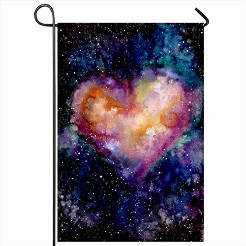 Ahawoso Garden Flag 12x18 Inches Pink Black Watercolor Dark Sky Shine Heart Galaxy Abstract Celestial Cloud Cosmic Cosmos Day Design Outdoor Decorative Seasonal Double Sided Home House Yard Sign ()