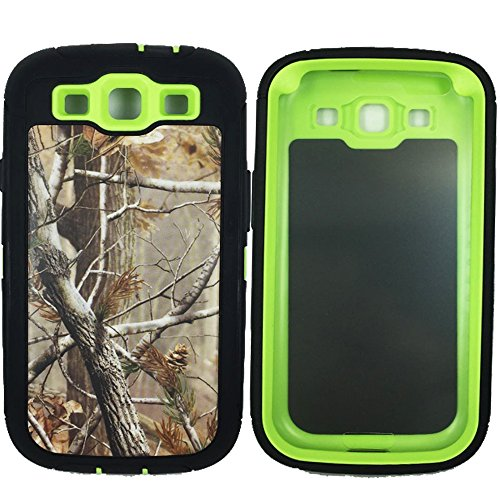 Kecko(TM) For Galaxy S3 Case, Defender Series Natural Tree Camo Tough Armor Military Grade Hybrid Weather Resistant Shock Absorption Rugged Hard Case With Built in Screen Protector for Samsung Galaxy S3 i9300--Hunting Camo Trees/Leaves On Green Core ()