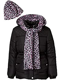 Girls Puffer Jacket Set with Hat & Scarf – Leopard Print