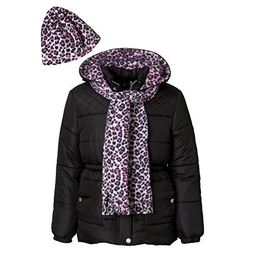 Pink Platinum Girls Puffer Jacket Set with Hat & Scarf – Leopard Print Jacket Hat Set Girl