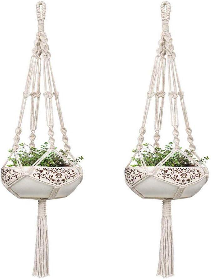 Macetas colgantes Macetas para plantas colgantes de interior-interior, paquete de 2 perchas para plantas de macramé de 42 pulgadas Macetero de cuerda de algodón blanco para interior Maceta