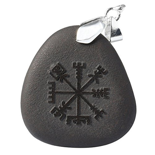 SUNYIK Black Stone with Engraved Vikings Amulet Vegvisir Symbols Pendant Necklaces, Reiki Healing Necklaces for Women,Pack of 1]()