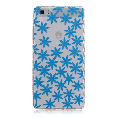 [Extremadamente Delgada] Funda 3D Silicona Transparent para Huawei P8 Lite ,Funda TPU Ultra Slim para Huawei P8 Lite , TOCASO Case Fina Slim Fit Cristal Clear, Transparent Slicona Clear Cover Glitteri Crisantemo Azul