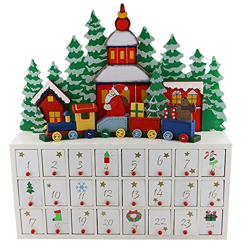 [해외]GIFTS 플라자 (D) 기차 강림절 달력 16x15 인치에 수제 크리스마스 장식 세인트 클라우스 / GIFTS PLAZA (D) Handcrafted Christmas Decor St Claus On Train Advent Calendar 16x15 Inch