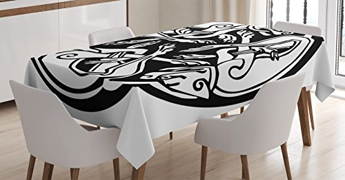 Celtic Decor Tablecloth by Ambesonne, Three Dogs Biting Their Tails Animal Forms Vikings Heritage Celtic Knots Form Medallion, Dining Room Kitchen Rectangular Table Cover, 52 X 70 Inches, Black White