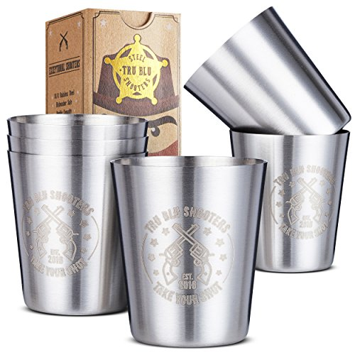 Stainless Steel Shot Glasses (Set of 6) - 2 oz Unbreakable Metal Shooters for Whiskey, Tequila, Liquor - Great Barware Gift Idea by Tru Blu Steel]()