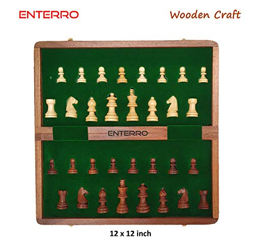 ENTERRO™ Wooden Magnetic Chess Board Classic Handcrafted - Foldable (12 inch x 12 inch) (B07JL5Q7NP) Amazon Price History, Amazon Price Tracker