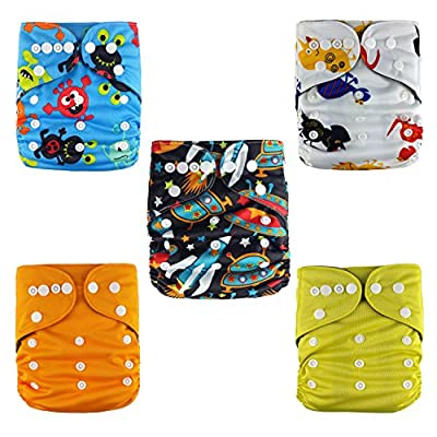 Jack ❤ Jill Baby 5 AIO Bamboo Charcoal Cloth Diapers + 5 Bamboo Charcoal Diaper Inserts Set