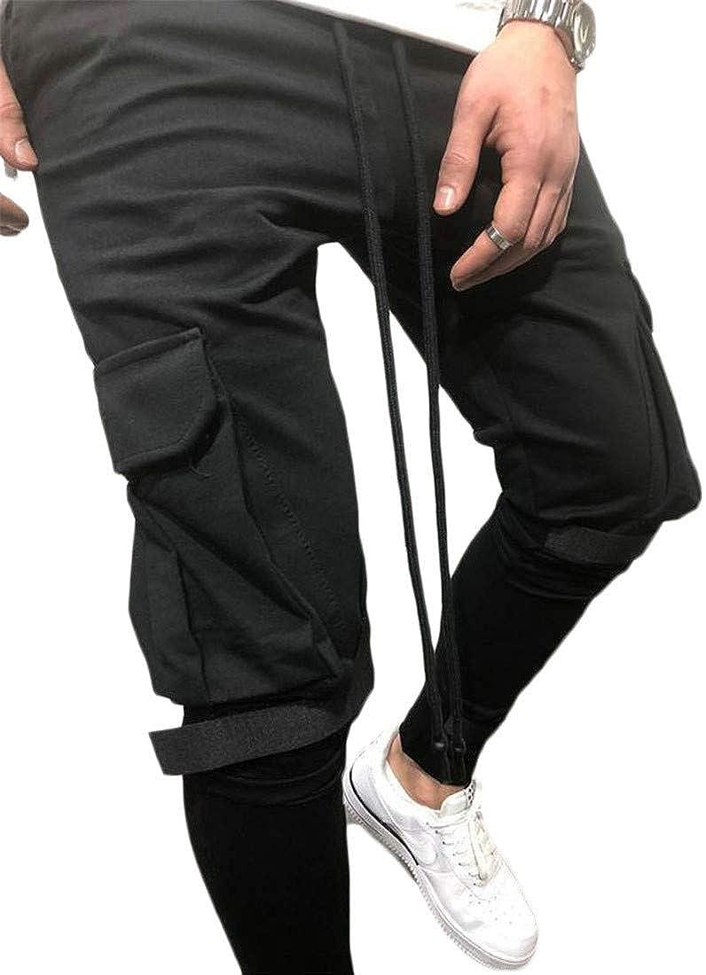XiaoTianXinMen XTX Mens Sport Exercise Elastic Waist Multi Pocket Casual Sweatpant Cargo Pants