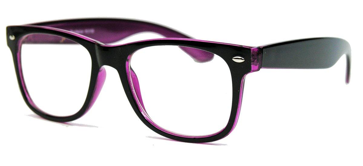 KULT klassische Nerdbrille Streberbrille 50er 80er Jahre Klarglas Fashion Brille (Schwarz / Violet) aHPsYzQB