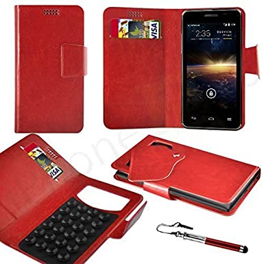 buy popular daf94 86201 ZTE Kis 3 Max Red PU LEATHER SUCTION WALLET CASE AND RETRACTABLE STYLUS PEN  Case In Your Face®