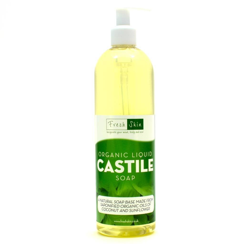 1 Litre Organic Castile Liquid Soap With Pump Dispenser. Freshskin 5060340205218