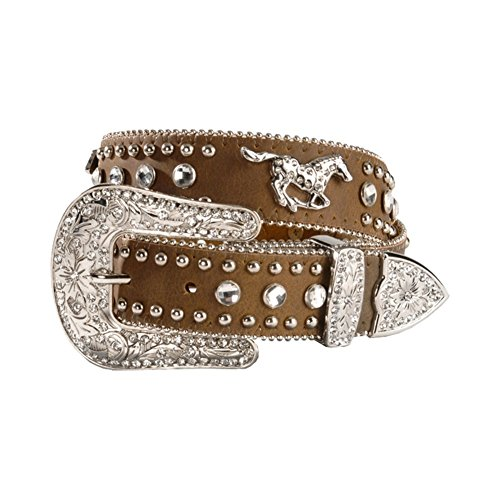 Nocona Girl's Running Horse Conchos Belt, Medium Brown Distressed, 18 (Cowgirl Concho Belt)