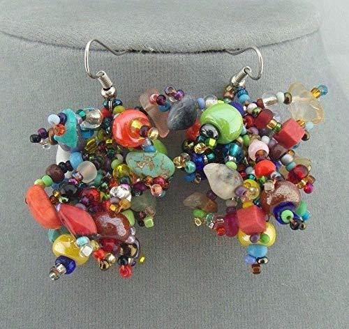 Multi Color Czech Glass Bead Earrings For Women Chunky Fashion Jewelry NEW