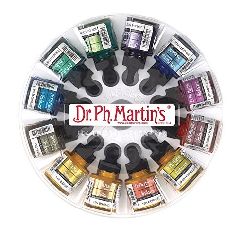 Dr. Ph. Martin's 400869-XXX  Iridescent Calligraphy Color Bottles, 1.0 oz, Set of 12 (Set 2)