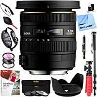 Sigma 10-20mm f/3.5 EX DC HSM Wide Angle Zoom Lens for Sony Digital SLR Cameras Deluxe Bundle Including Tripod Cleaning Kit Strap & More