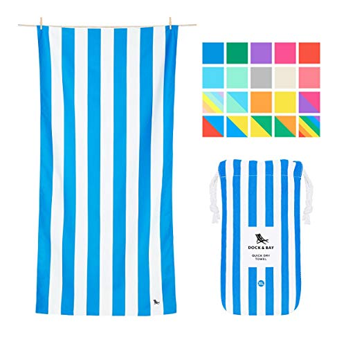 White Monogrammed Gift Pouch - Dock & Bay Microfiber Towel - Beach & Travel (Blue - Extra Large 78x35) - Huge & Compact, Absorbent & Quick Dry