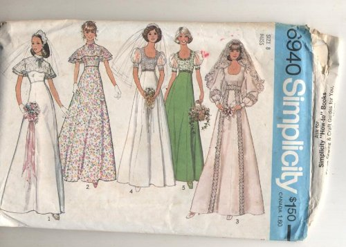 Vintage 6940 Simplicity 1960s Bridal, Bridesmaid or Prom Dress Sewing Pattern (Vogue Prom Dress Patterns)