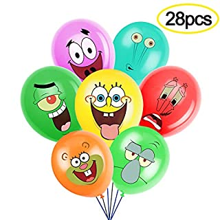 SpongeBob Inspired SquarePants Party Supplies, Birthday Party Balloons for SpongeBob Theme Party, Includes 7 Styles Printed Ideal for Kids Party Decorations Favors (Pack of 28)