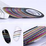 BORN PRETTY 13 Rolls Nail Art Glitter Nail Striping Tape Line 1mm Multi-color Matte Effect Manicure Adhesive Stickers Decoration