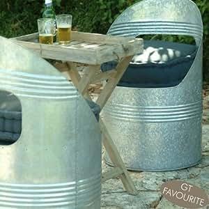 Ingarden Garden Barrel Chairs. Galvanised Steel Outdoor Barrel Seats
