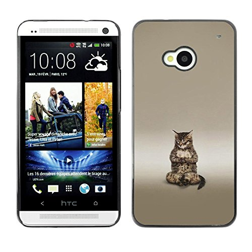 Soft Silicone Rubber Case Hard Cover Protective Accessory Compatible with HTC ONE M7 2013 - Cute Buddha Cat Meditating