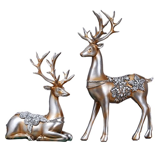 Olpchee 2Pcs Christmas Reindeer Resin Sculpture Individuality Deer Figurine Statue Home Office Decor Statues (Champagne Silver) (Decor Reindeer Home)