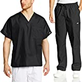Cherokee Mens Workwear Scrub Set Medical/Dentist Uniform V-Neck Top & Cargo Pant (Black, Small)