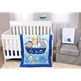 Baby's First by Nemcor Ahoy There 5 Piece Crib Bedding Set, Blue