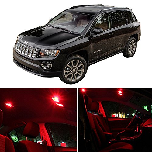 cciyu 11 Pack Red LED Bulb LED Interior Lights Accessories Replacement Package Kit Replacement fit for 2013-2017 Jeep Compass ()
