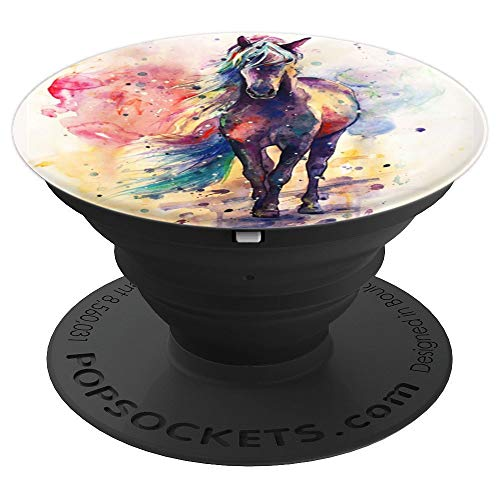 Watercolor Horse, Colorful Horse Cute Gift Girl Horse Lovers - PopSockets Grip and Stand for Phones and -