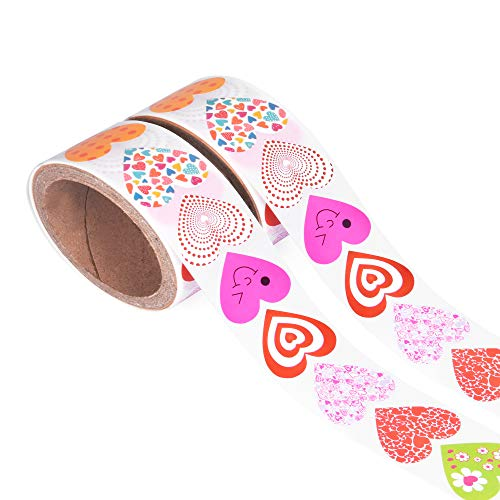 GreatToys Heart Shaped Stickers, Pack of 200 Valentine Heart Stickers, 10 Adorable Designs for Cards, Art & Craft Projects, Sticker-Bombing & Gift Wrappings, Decorative Stickers for Kids, 2 Rolls