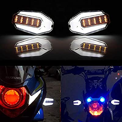 Evermotor Universal Motorcycle 3-wire LED Blinker 1 Pair with White DRL and Red Brake Light DRL White Front, Blade