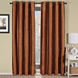 Cheap Geneva Multi-layer Rust Grommet Blackout Window Curtain Panel, Lined-Stripe Pattern, 52×84 inches, by Royal Hotel