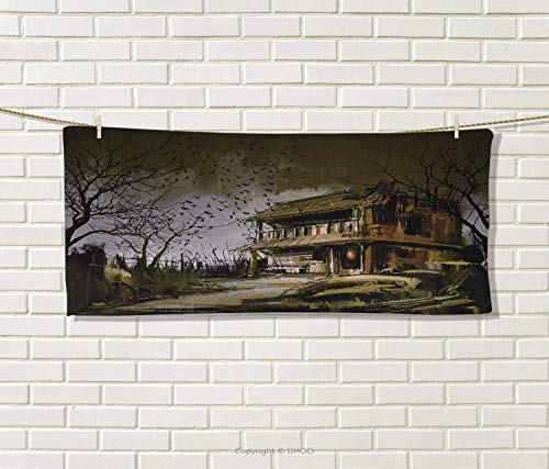 Anniutwo Rustic,Travel Towel,Old Haunted Abandoned Wood House at The Dark Night with Bats Scary Horror Paint,Quick-Dry Towels,Multicolor Size: W 14'' x L 27.5'' by Anniutwo