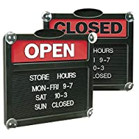"""Headline Sign – Double-Sided""""Open"""" /""""Closed"""" Sign with Customizable Hours or Message, Includes 3/4″ Characters, 15″ x 13″, Red and Black (3727)"""