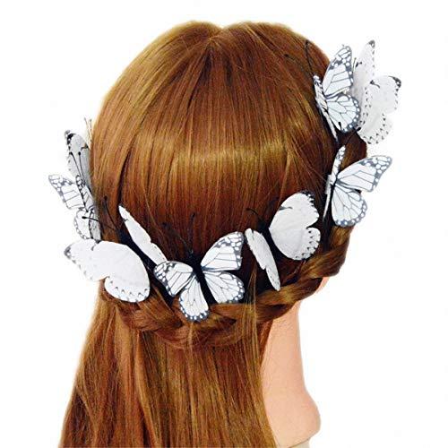 the love 8-Pack White Butterflies Hair Pins Hair Clips Barrettes for Ladies Girls Wedding Headdress or Bride Accessories, Headpieces Headwear Accessories -