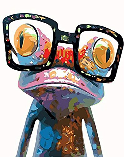 (DIY 5D Diamond Painting by Number Kit, LPRTALK Full Drill Diamonds Painting Animal Sunglasses Frog Rhinestone Embroidery Cross Stitch Supply Arts Craft Canvas Wall Decor 10X12 inches )