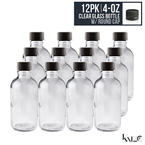 12 Pack- 4 Oz - Clear Boston Round Glass Bottle With Screw On Cap 118 ML - For Hydrosol, Kitchen, Cosmetics, Bathroom, Travel, Medicine, Oils Perfume - Childproof, Re-Usable Anti-Leak -By Katzco (Glass Bottles Cosmetics)