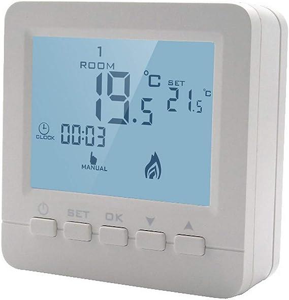 HY02B05-2BW RF Inal/ámbrico Interruptor Termostato de Pared Controlador de Calefacci/ón Control Remoto
