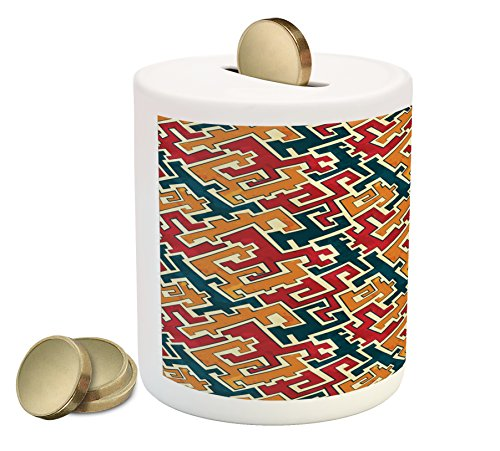Price comparison product image Ambesonne Grunge Coin Box Bank by, Vintage Tribal Motifs with Angled Geometric Shapes Timeless Abstract African Art, Printed Ceramic Coin Bank Money Box for Cash Saving, Multicolor