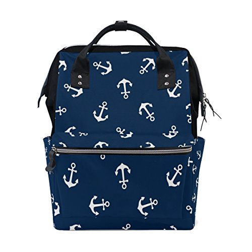 WOZO Blue White Anchor Multi-function Diaper Bags Backpack Travel Bag by WOZO