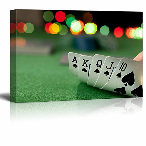 Canvas Prints Wall Art - Casino Concept Playing Cards/Poker | Modern Wall Decor/Home Decoration Stretched Gallery Canvas Wrap Giclee Print & Ready to Hang - 24