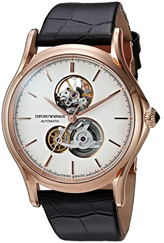 Emporio Armani Swiss Made Men's 'Classic Watch' Swiss Automatic Stainless Steel and Leather Casual, Color:Brown (Model: ARS3401)