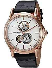 Men's 'Classic' Swiss Automatic Stainless Steel and Leather Casual Watch, Color Brown (Model: ARS3401)