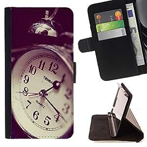 Devil Case- Estilo PU billetera de cuero del soporte del tir¨®n [solapa de cierre] Cubierta FOR Samsung Galaxy S6 G9200- Retro Clock