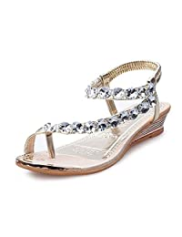ANBOO Woman Summer Sandals Rhinestone Flats Platform Wedges Shoes Flip Flops